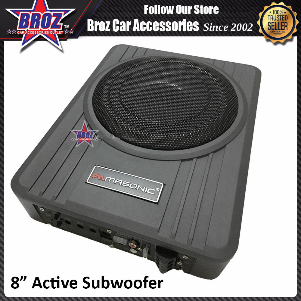 Broz Masonics 8 inch Active Subwoofer with High Power and Low Distortion Amplifier