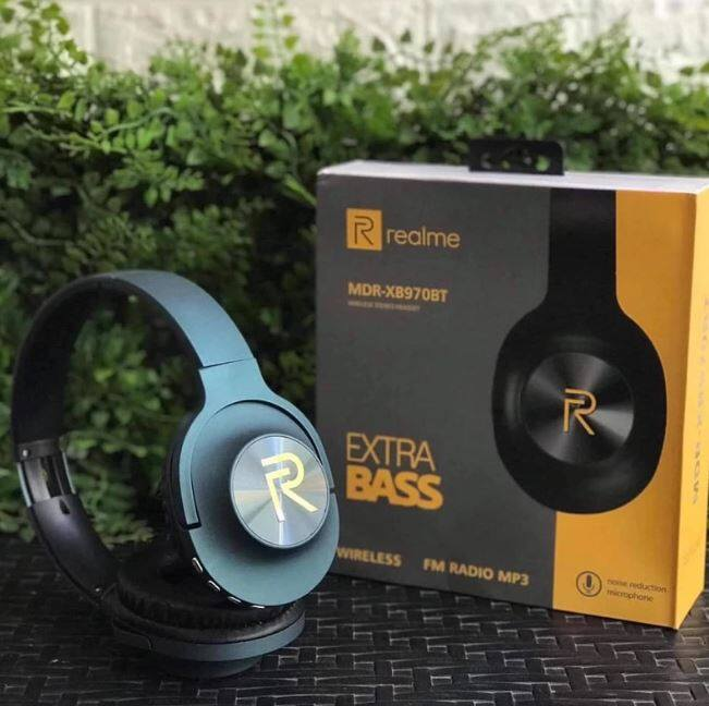 Realme MDR-XB970BT Bluetooth Headphone HiFi Music Support TF Card With HD Mic Wireless Headset