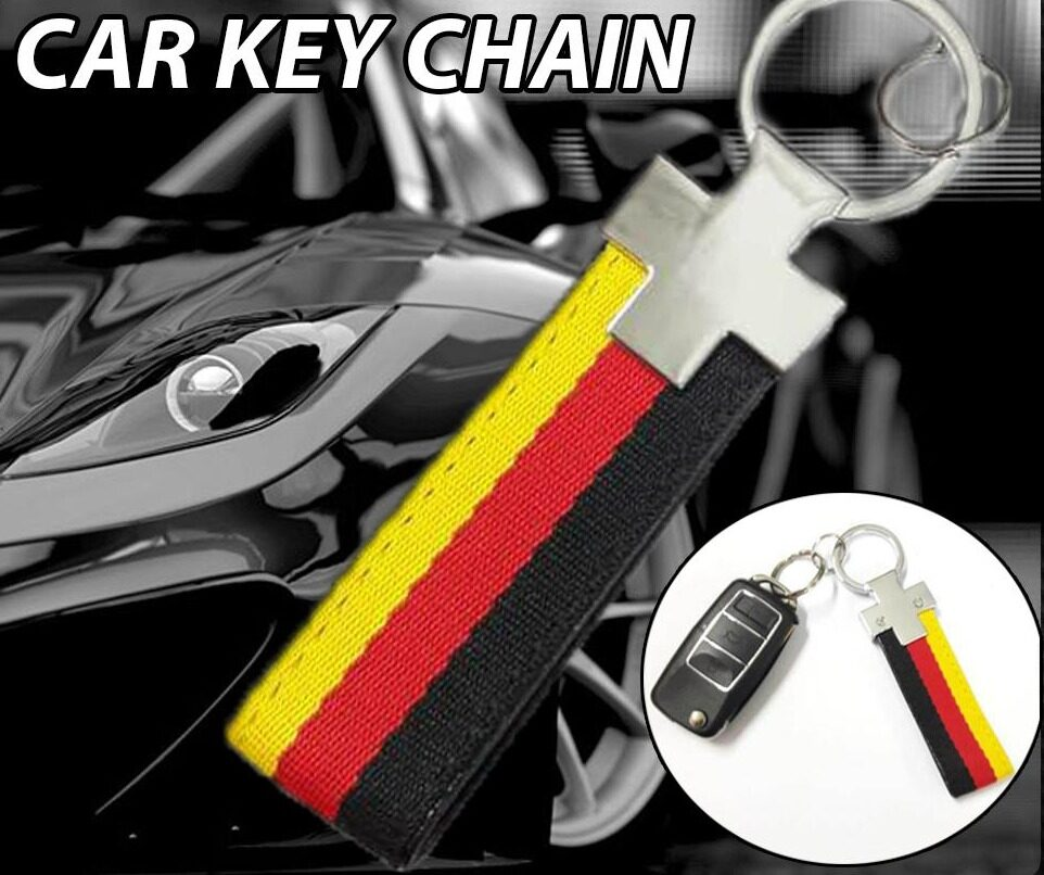Broz Stainless Steel PVC Black Red Universal Strap Key ring Key Chain Ring