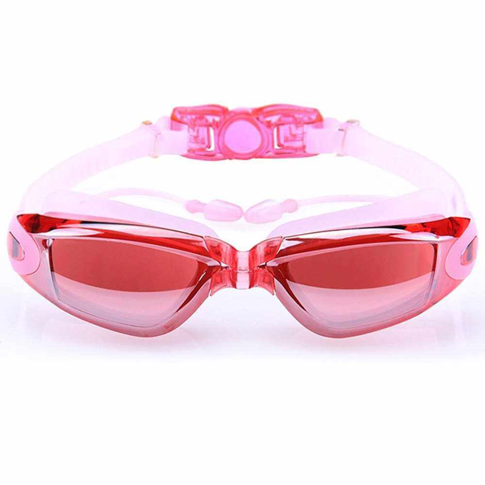 Swim Goggles Swimming Goggles Protective Goggles No Leaking Anti Fog UV Protection Swim Goggles with In-mold Earplugs (Pink)