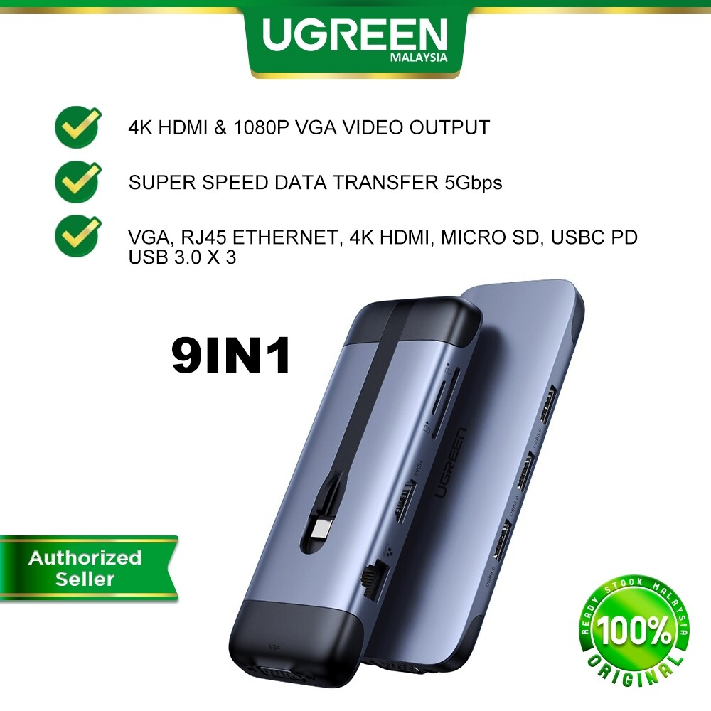 UGREEN USB C Hub 9 in 1 USB Type C HDMI Multiport Adapter Dock with 4K HDMI VGA Gigabit Ethernet Converter PD Charging 3 USB 3.0 Ports SD Card Reader for MacBook Pro Air 2020 2019 2018 Dell XPS Nintendo Switch Huawei Matebook Lenovo Samsung
