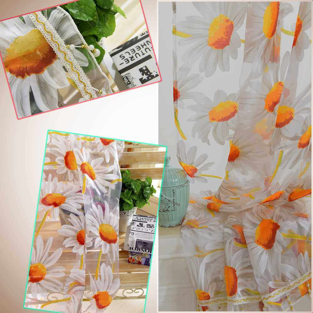 2Pcs 100*250cm Elegant High Quality Sunflower Design Half Shading Window Curtain Divider with Beads Door Voile Curtains Wall Decoration (Standard)