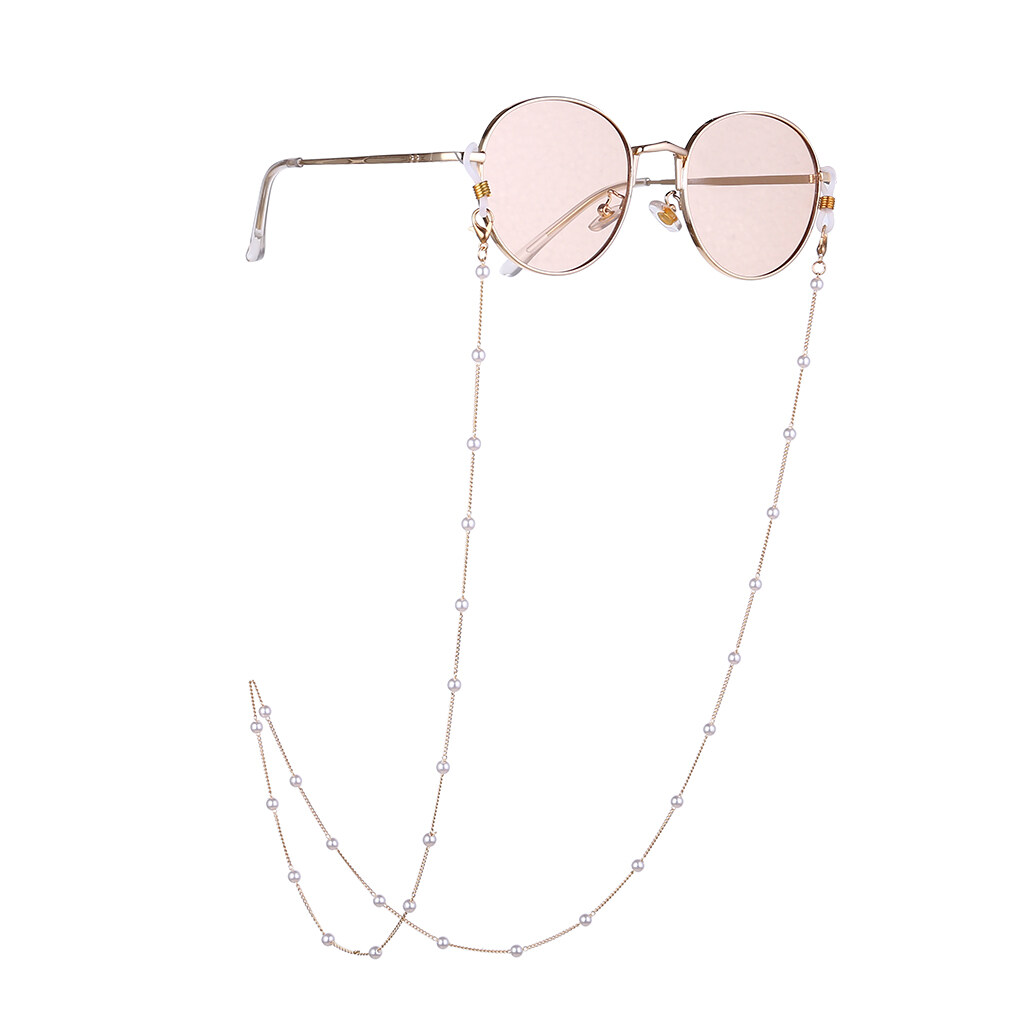 Simple Lady Pearls Sunglasses Chain Hanging Neck Anti-falling Eyeglass Cord Necklace