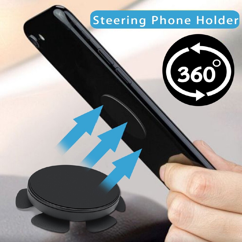 Phone Holder & Stand - Universal 360 Magnetic Car Steering Wheel Mobile Phone Dashboard Holder Mount - Cases Covers