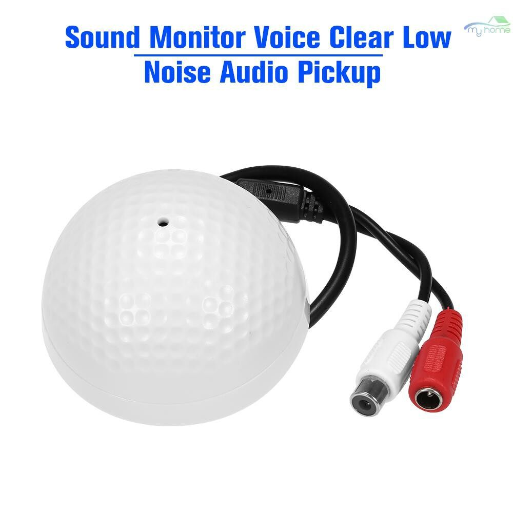 Monitors - Sound Monitor Voice Clear Low Noise Audio Pickup Microphone for CCTV Video Surveillance Security - WHITE