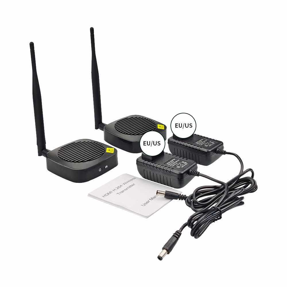 2.4GHz 5GHz Wireless HD Extender 1080P H.264 Transmitter Receiver Automatic Wifi Connection 165MHz 6.75Gbps Stable Audio Video Transmitter Kit EU Plug (Black)