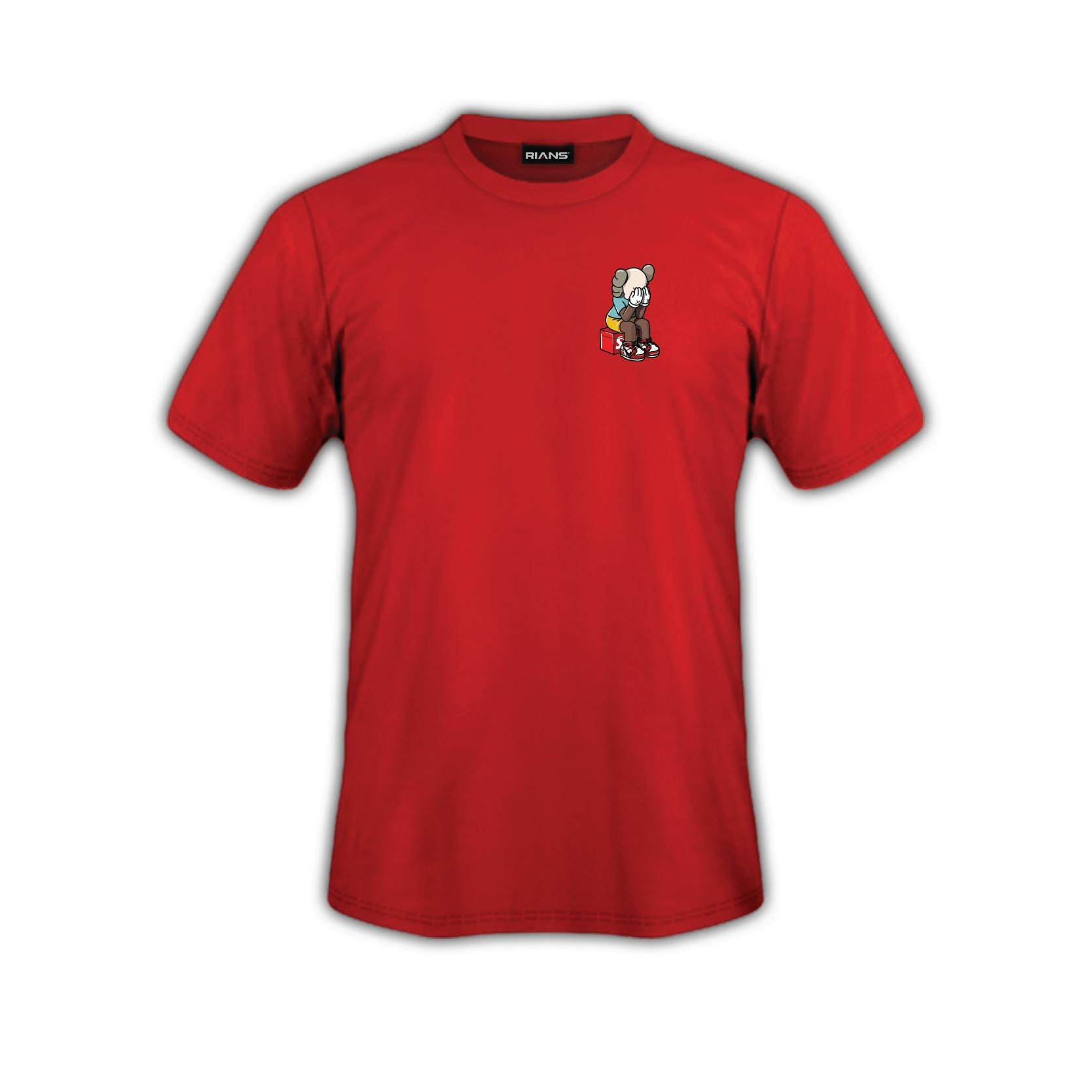 T-Shirt KAWS Left Logo Viral 4 Colour 100% Cotton Baju Tshirt Black White Hitam Putih Bossku