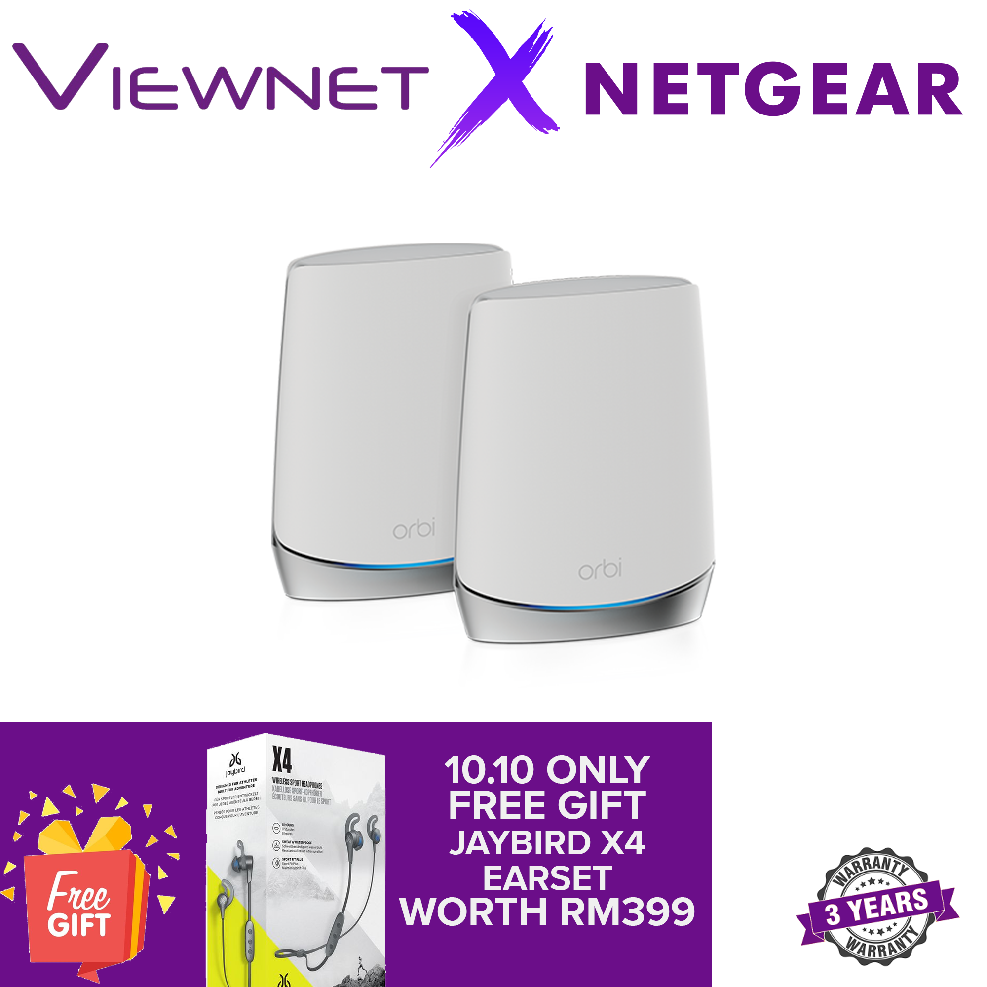 NETGEAR Orbi Whole Home Tri-Band Mesh WiFi 6 System (RBK752) – Router with 1 Satellite Extender Coverage up to 5,000 sq. ft. and 40+ Devices Mesh AX4200 WiFi 6 (Up to 4.2Gbps)