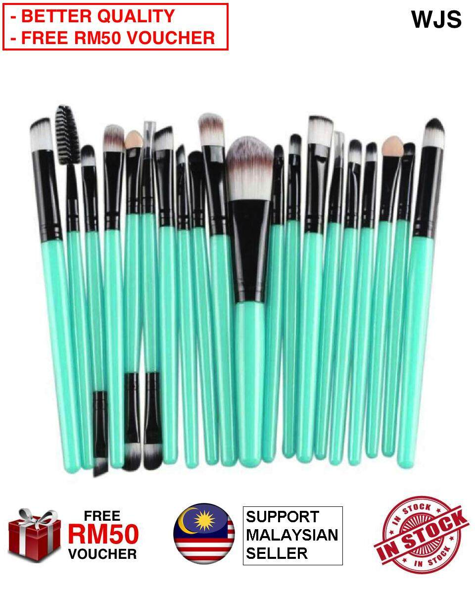 (HALAL BRUSH) WJS HALAL 20 pcs 20pcs Mini Make Up Brush Travel Set Makeup Brush Set Tools Makeup Toiletry for Travelling Portable Kit Turquoise Black [FREE RM50 VOUCHER]