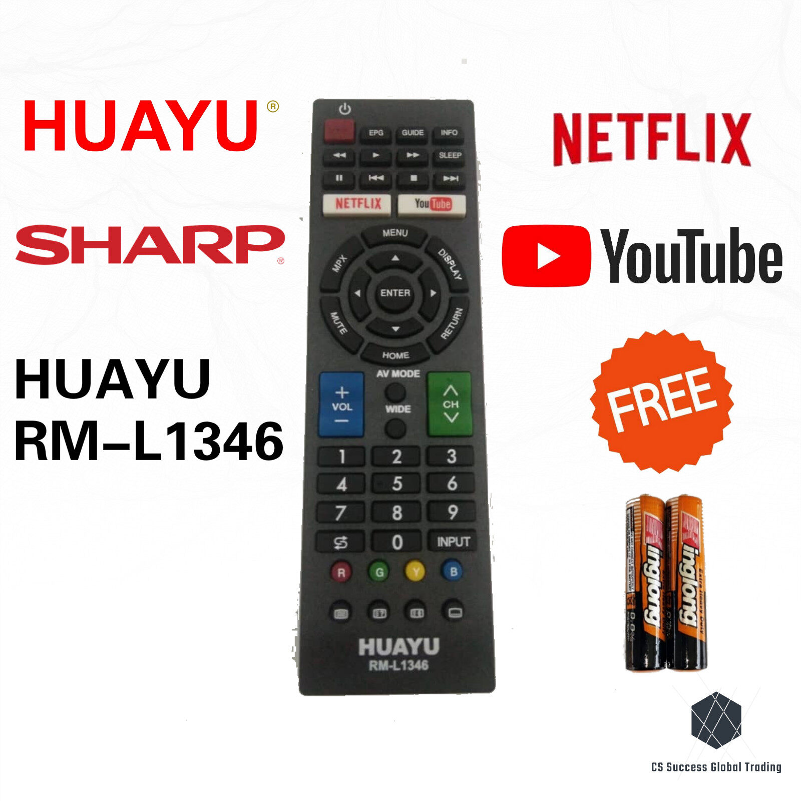 HUAYU SHARP RM-L1346 COMMON LCD/LED TV REMOTE CONTROLER