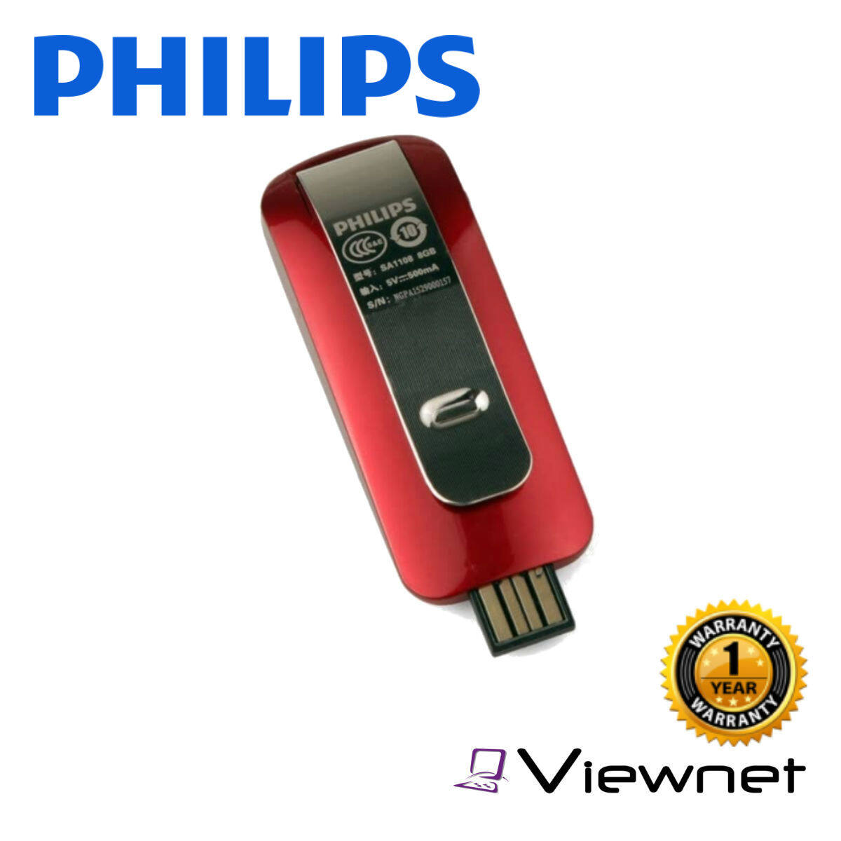Philps MP3 SA1108 8GB Red Player