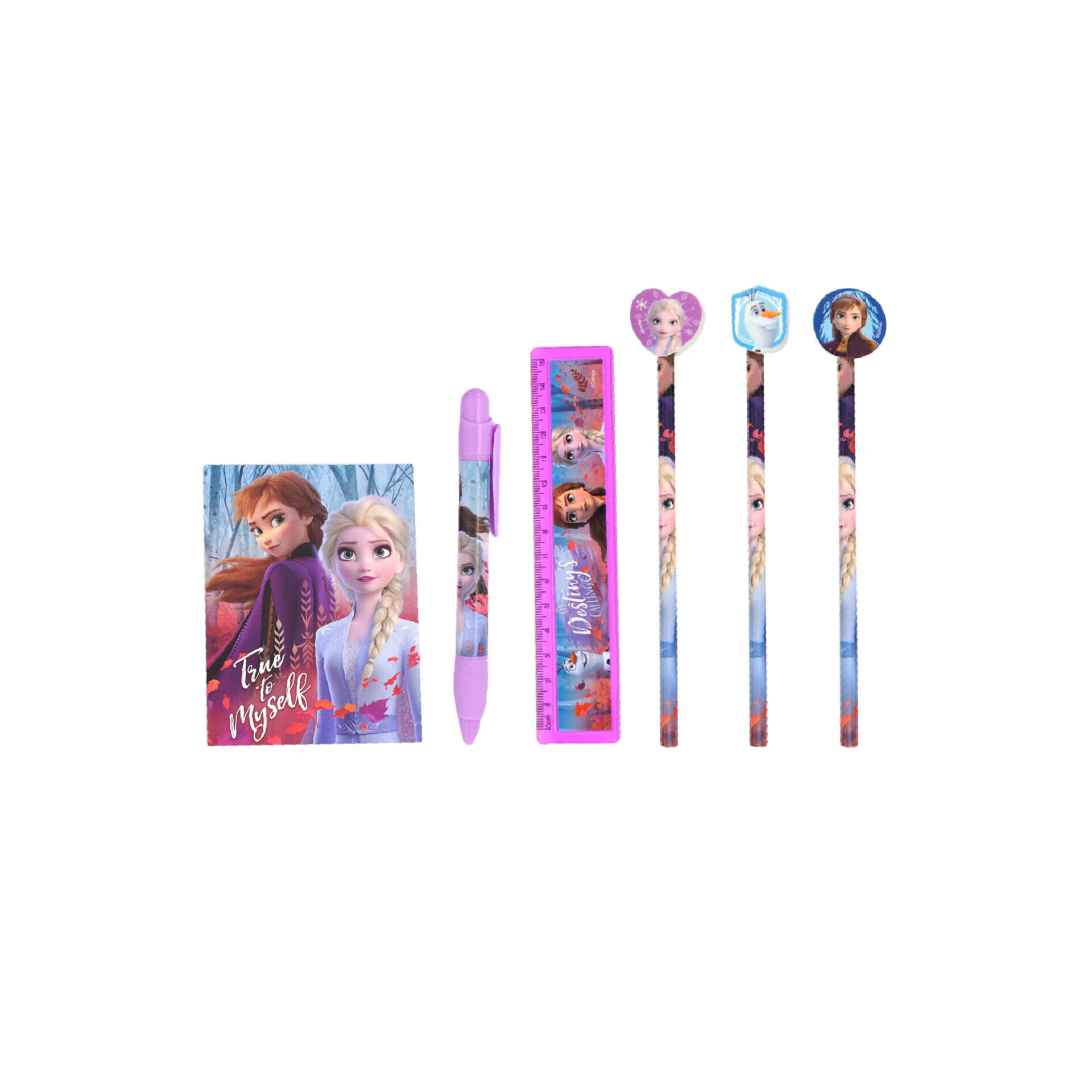 Disney Frozen 2 Princess Elsa & Anna All In 1 Big Stationery Case - 3 Pencils, 1 Mechnical Pencil, Ruler & Mini Notepad (Dark Purple)
