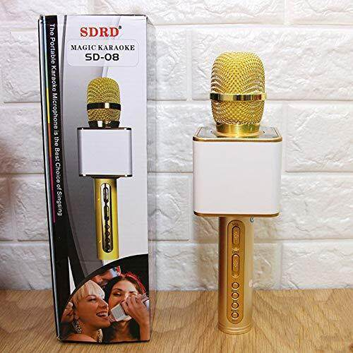 Magic Karaoke SD-08 Super Loud Microphone Karaoke Bluetooth USB SD Card GOLD