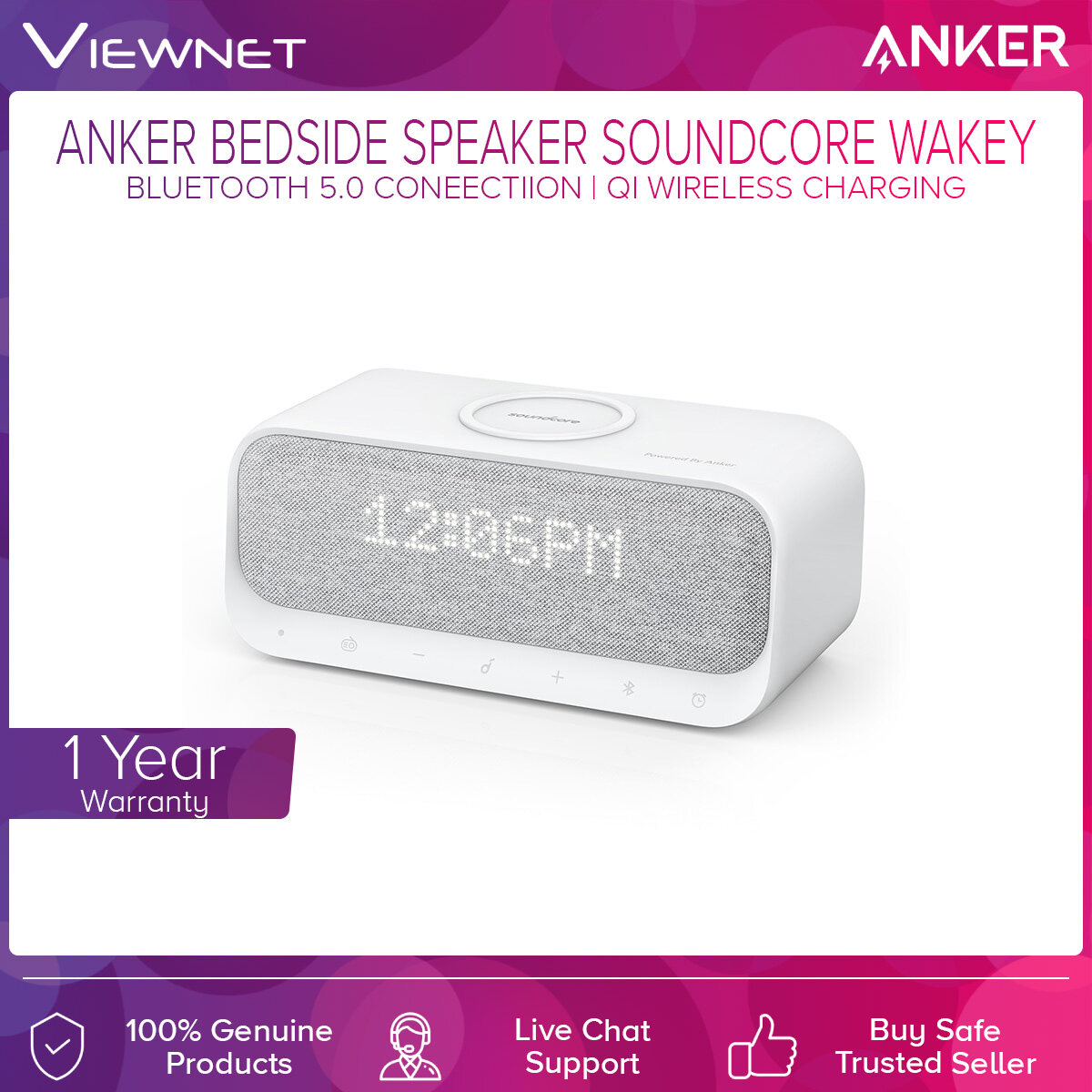 Anker Bluetooth Speaker SoundCore Wakey A3300 with Bluetooth 5.0 Connection, Alarm Clock, Stereo Sound, FM Radio, White Noise, Qi Wireless Charger
