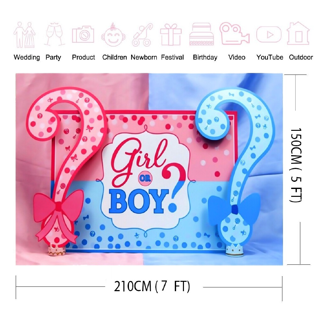Lighting and Studio Equipment - 5X7ft Girl OR Boy Surprise Photography Cloth Background Cloth Photo Backdrops - 210X150CM