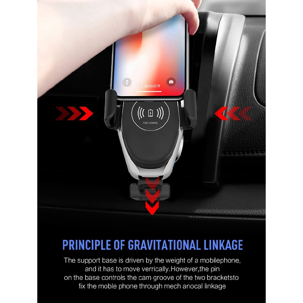 Qi WIRELESS Automatic Clamping Fast Charging Car Charger Mount Holder Stand