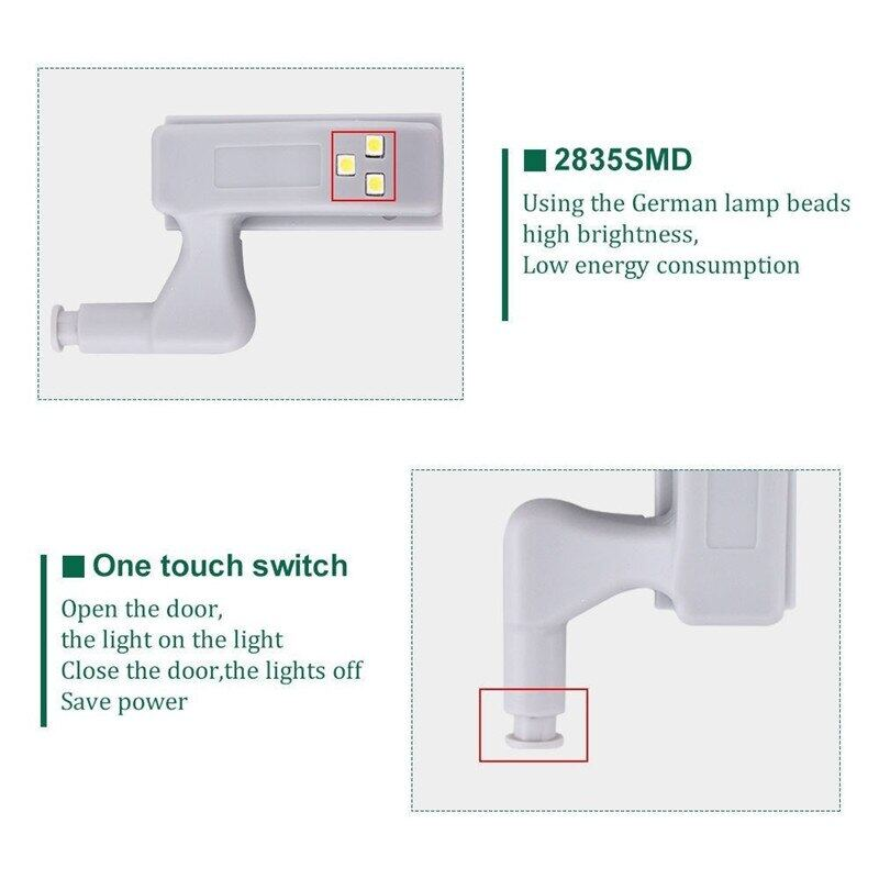 Universal Hinge LED Sensor Light for Cabinet Cupboard Closet Wardrobe (without Battery)