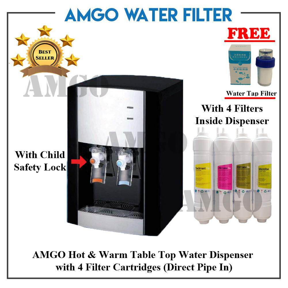 AMGO DWP-CS2010 Hot And Warm Table Top Water Dispenser With 4 Filter Cartridge Inside – Direct Pipe In