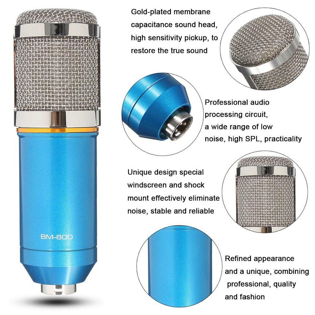 Microphones - BM-800 Condenser Microphone Recording Mic Metal Audio Studio w/ Shock Mount_3C - BLUE / WHITE / BLACK