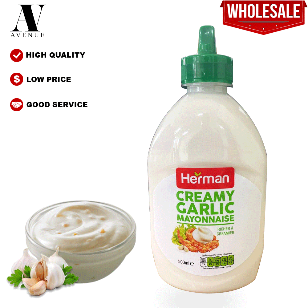 Herman Creamy Garlic Mayonnaise 500 Ml ( Richer & Creamier ) كريمي مايونيز بالثوم