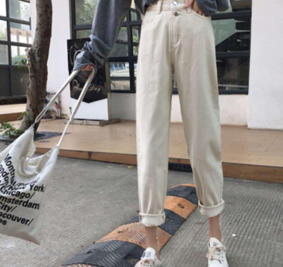 High-waist Women's Jeans Feet Pants Korean Fasion 2020