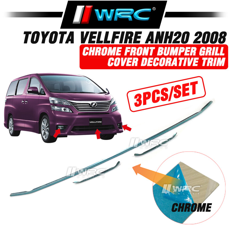 Toyota Vellfire ANH20 2008 Stainless Steel Chrome Front Bumper Grill Cover Decorative Trim ( 3pcs/set )