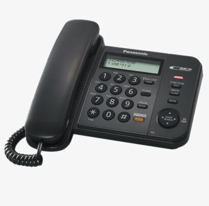 Panasonic Corded Phone KX-TS580 Black with Redial Memory, Extra Connector For Data port, Clear Sound, 2 Lines LCD with Clock, Caller ID, Speaker Phone
