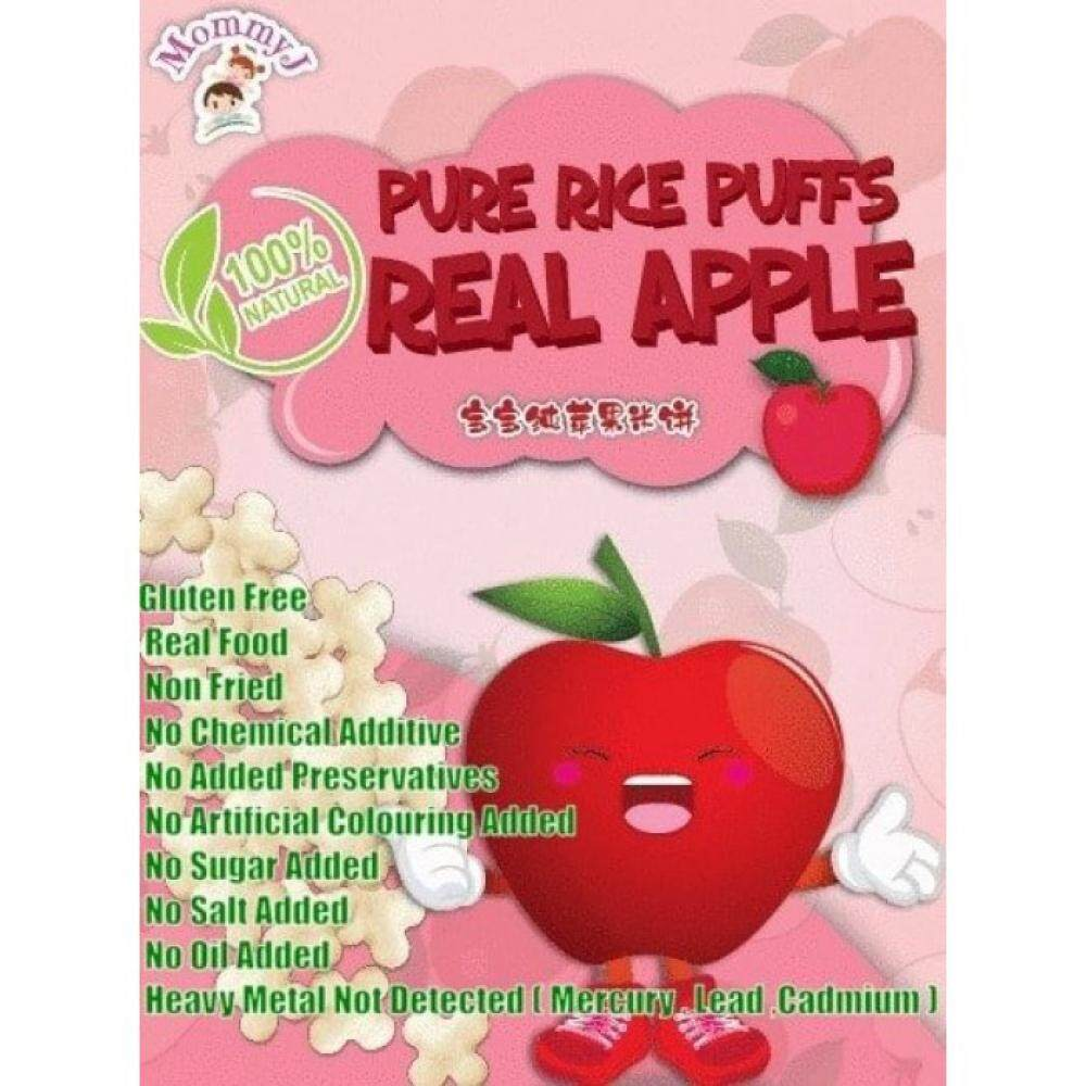 MommyJ Pure Rice Puff Real Apple ( 10g x 5 sachet packs ) 50g x2 - TWIN PACK
