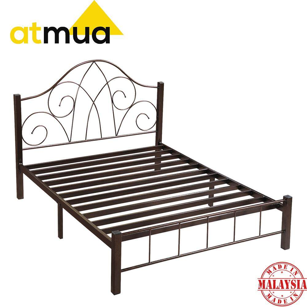 Atmua Sarah Powder Coat Metal Queen Size Bed Double Bed Strong & Sturdy  / Katil Besi ( Super Base ) *Easy Install