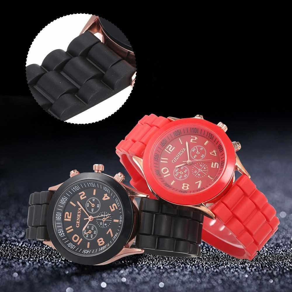 Best Selling Simple Silica Gel Band Alloy Case Quartz Watch Three Dials Analog Wrist Watch (Black)