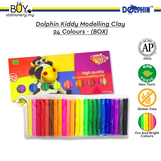 Dolphin Kiddy Modelling Clay 24 Colours - (BOX)