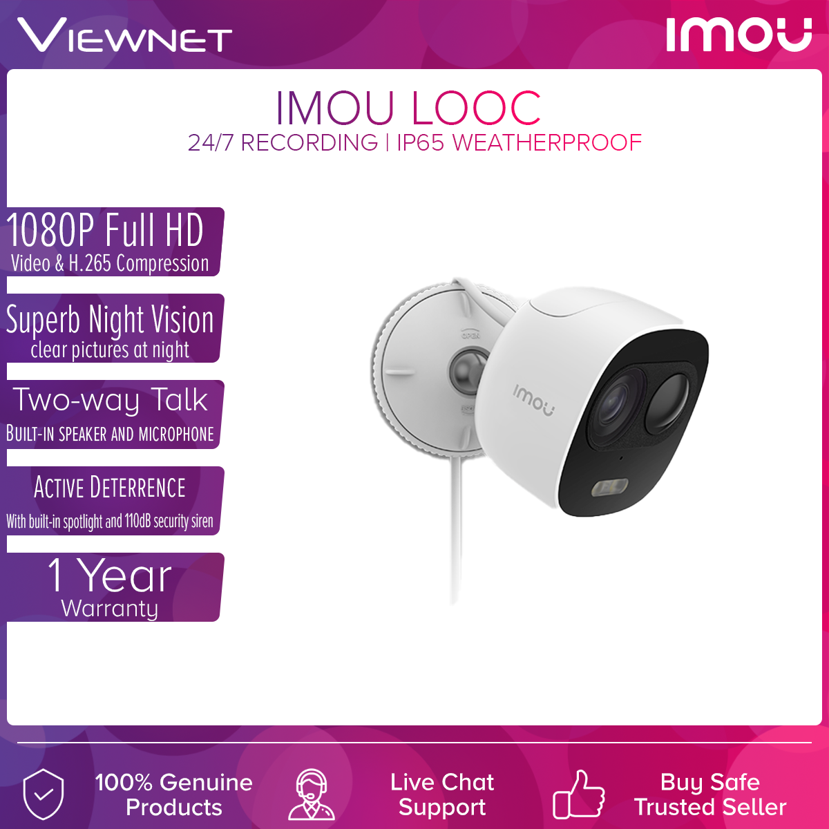 DAHUA IMOU Looc Outdoor IP65 PIR Detection 1080P Full HD Wireless WiFi IP Camera with (CCTV) With Spotlight And Siren Alarm