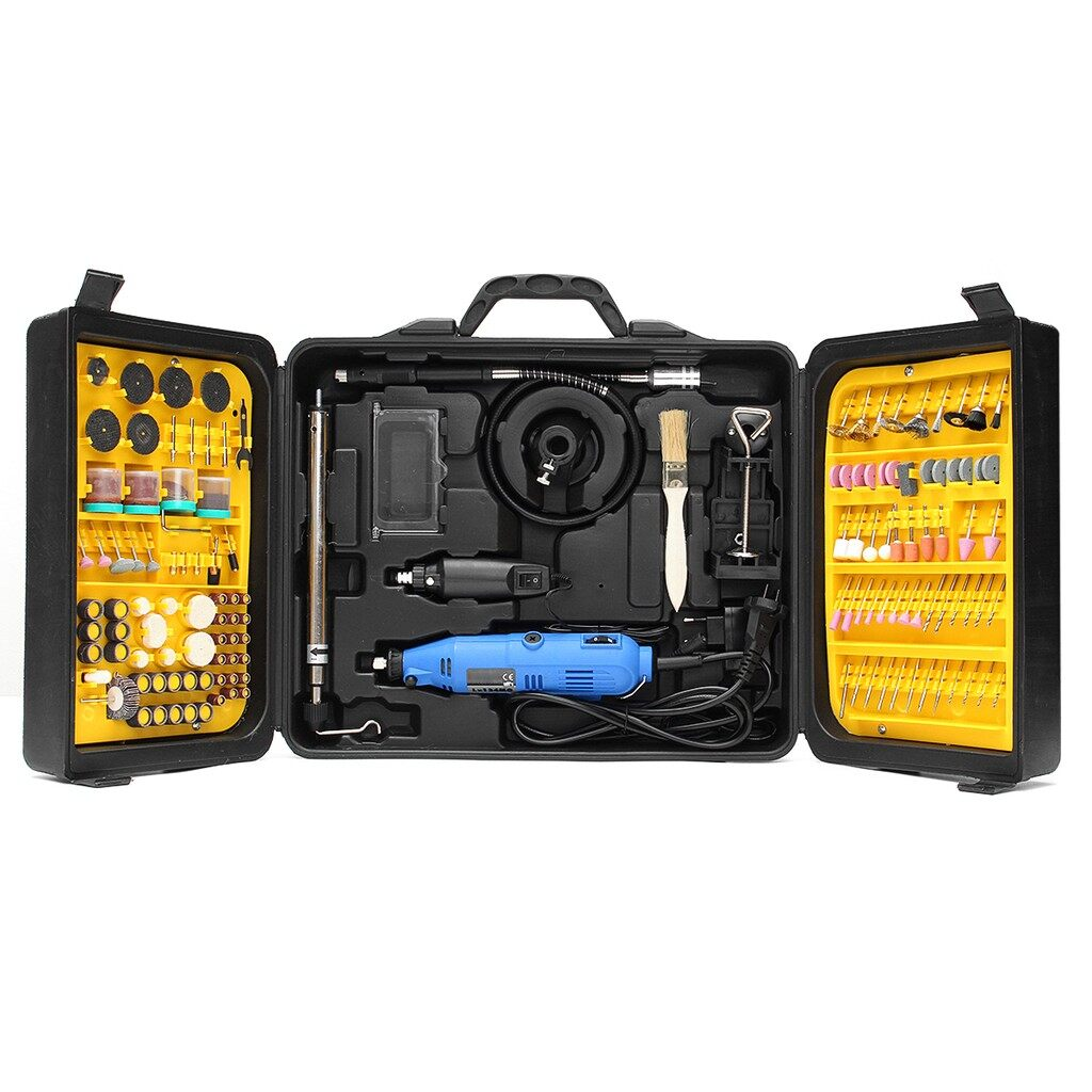 DIY Tools - 220V Dual Electric Die Grinder Power Drill 180 PIECE(s) Rotary Tool Kit Carver - Home Improvement