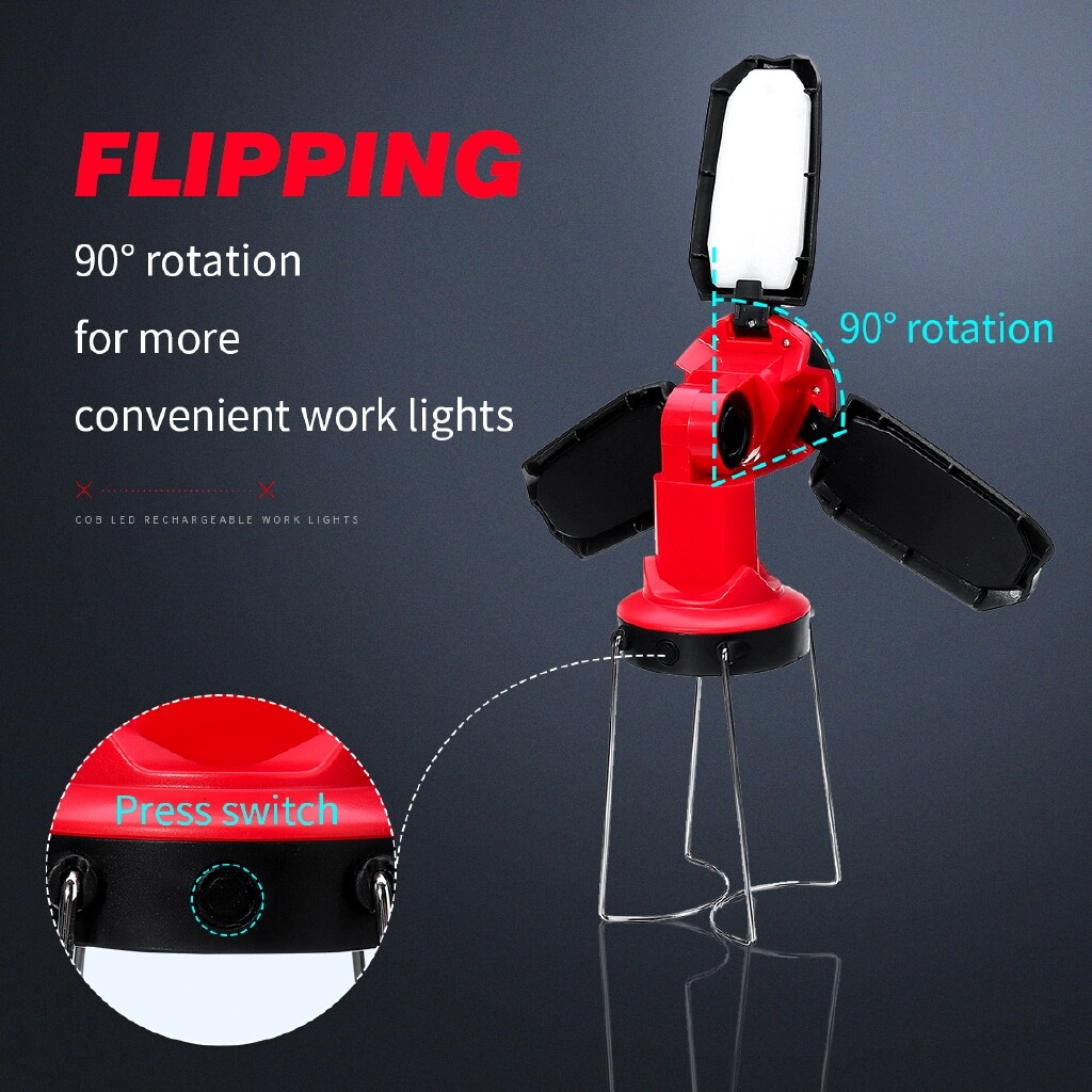 Outdoor Lighting - Rechargeable COB LED Work Folding Light USB PORTABLE Emergency Flood Lamp Stand