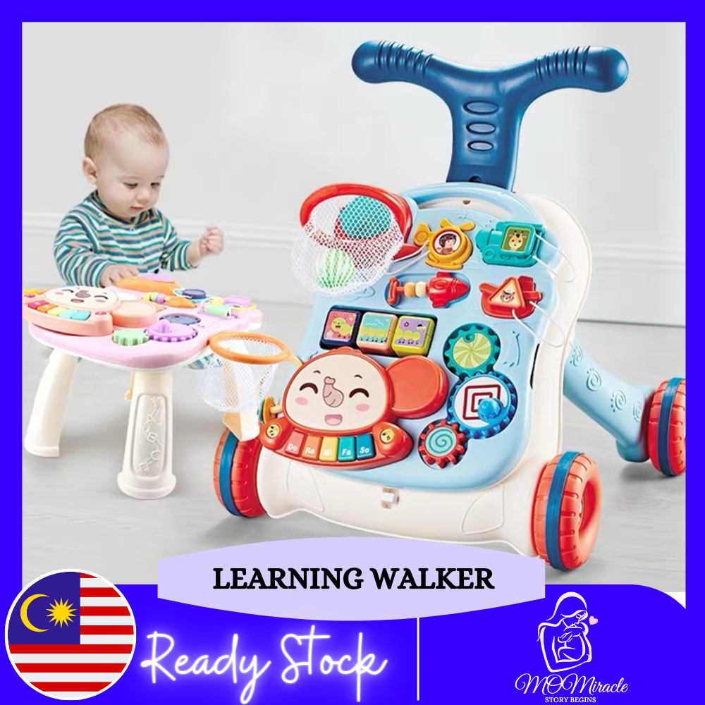2 IN 1 Multi functional Sit to Stand Learning Baby Walker First Step Baby Walker Baby Push Walker Educational Trolley Toys for Babies Toddlers (With Water Tank)