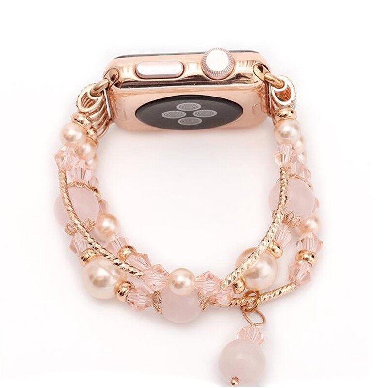 Smart Watch - Cymii Crystal Bracelet Watch Agate Jewelry Girl Wrist for AppleWatch Series - WHITE-38MM / PINK-42MM / GOLDEN PURPLE-38MM / PINK-38MM / GREY-42MM / WHITE-42MM / GOLDEN PURPLE-42MM / SILVER PURPLE-38MM / GREY-38MM / SILVER PURPLE-42MM