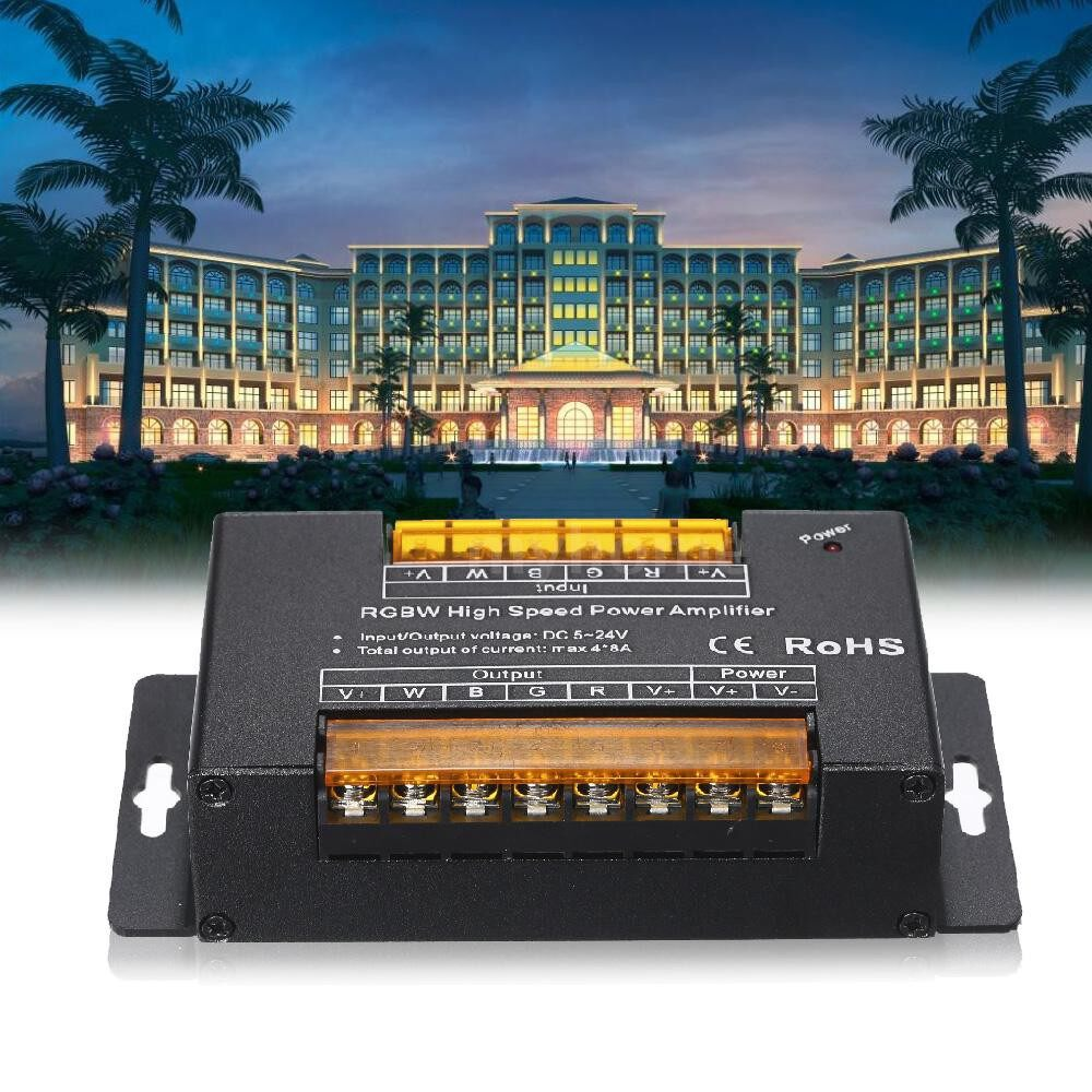 Lighting - DC5V-24V RGBW High Speed Power Amplifier PWM Dimming Signal Input Power Repeater for RGBW LED Band - BLACK