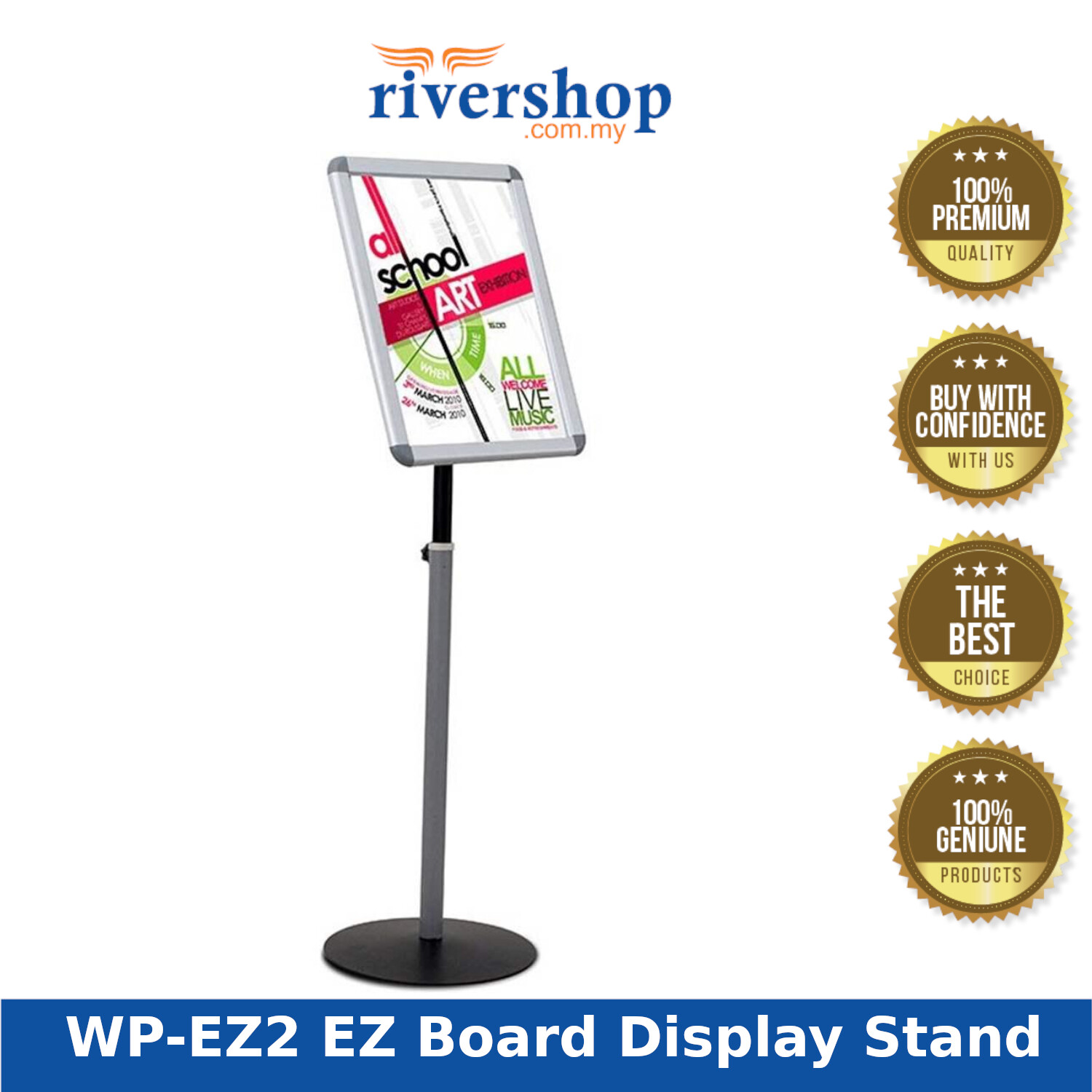 Writebest WP-EZ2 EZ Poster Board Display Stand with Adjustable Rotating Tiltable Height (A2)