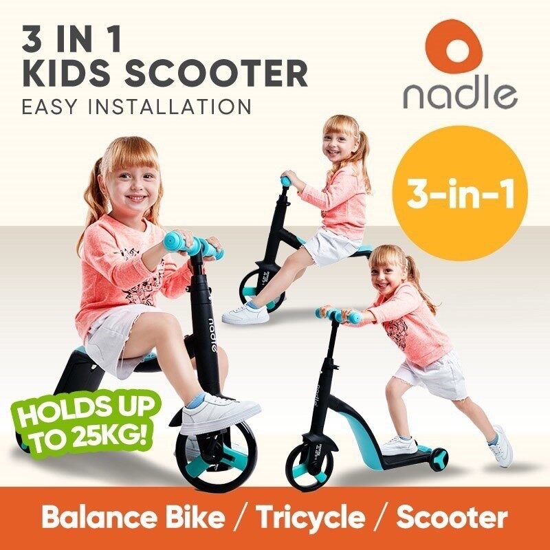 Nadle Children Scooter Tricycle Baby 3 In 1 Balance Bike Ride On Toys Kids Bike Children Learning Walk Scooter Toys For Kids.