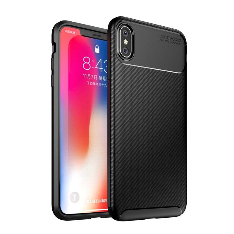 iPh Soft Cover - Protective Case For iPh XS Max Slim Carbon Fiber Soft TPU Back Cover - BLACK / BLUE / BROWN