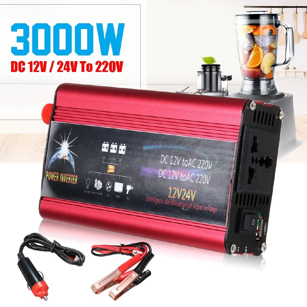 Power Tools - 3000W DC12/24V To AC 220V Sine Wave Power Inverter Car Charger USB Converter - Home Improvement