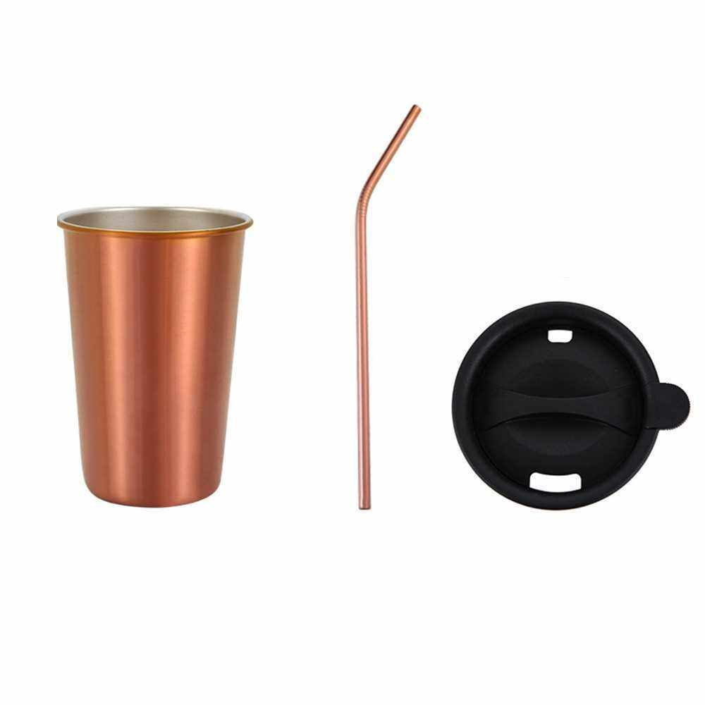 500ml 304 Stainless Steel Cup Coffee Mug Cold Drink Straw Lid Set Outdoor Camping Travel Picnic Juice Milk Tea Beer Cups (Rose Gold)