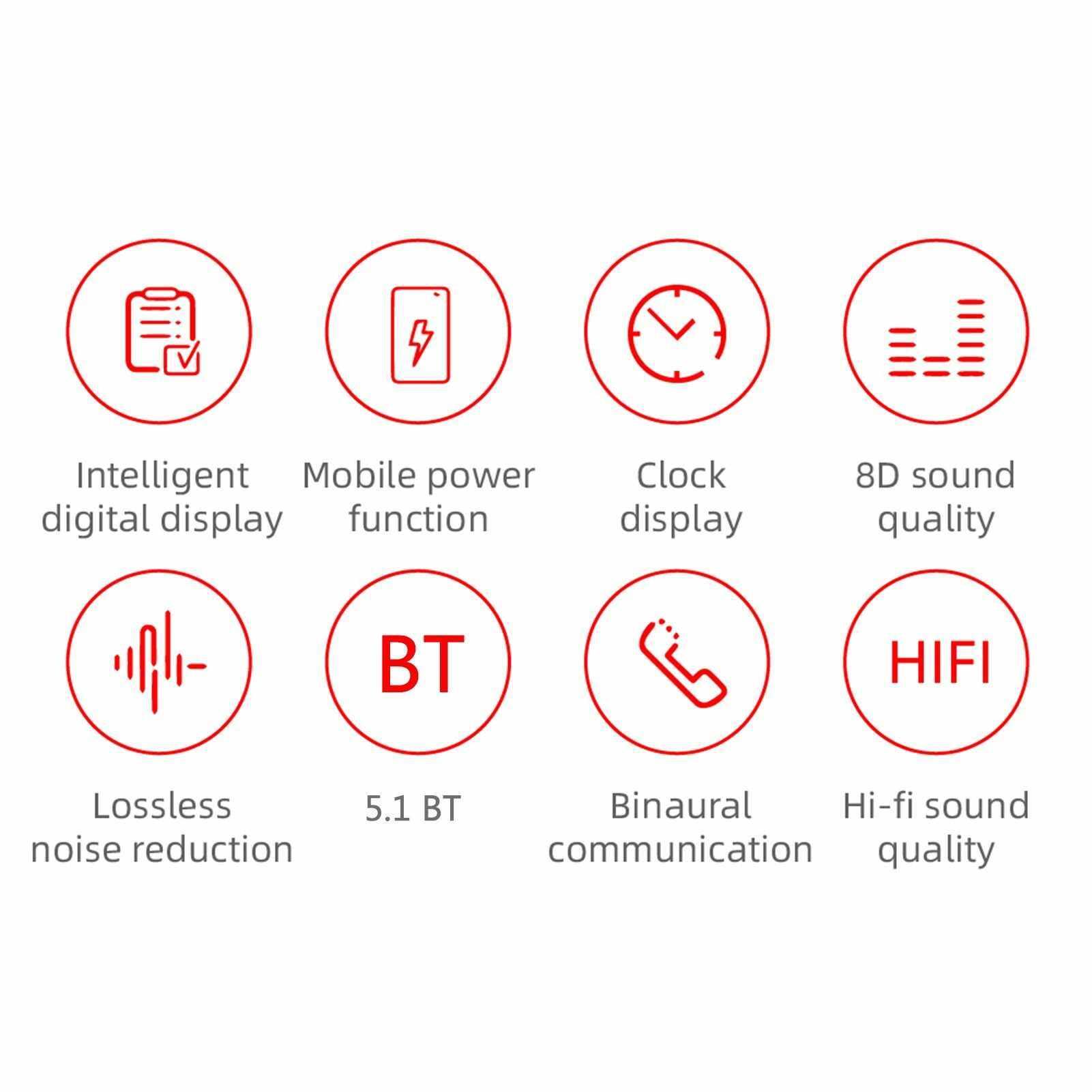 Best Selling G6 (D18) BT5.1 Wireless Headphones Auto Pairing Power Clock Display 8D Sound Effect Noise Reduction IPX4 Waterproof (Standard)