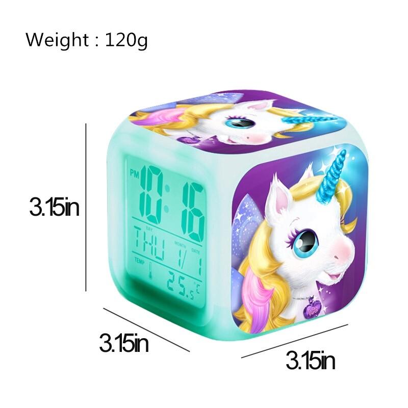 Cartoon Unicorn Alarm Clock Led Digital Alarm Clocks Changing Night Light Thermometer Gift - #6 / #1 / #7 / #2 / #3 / #4 / #5