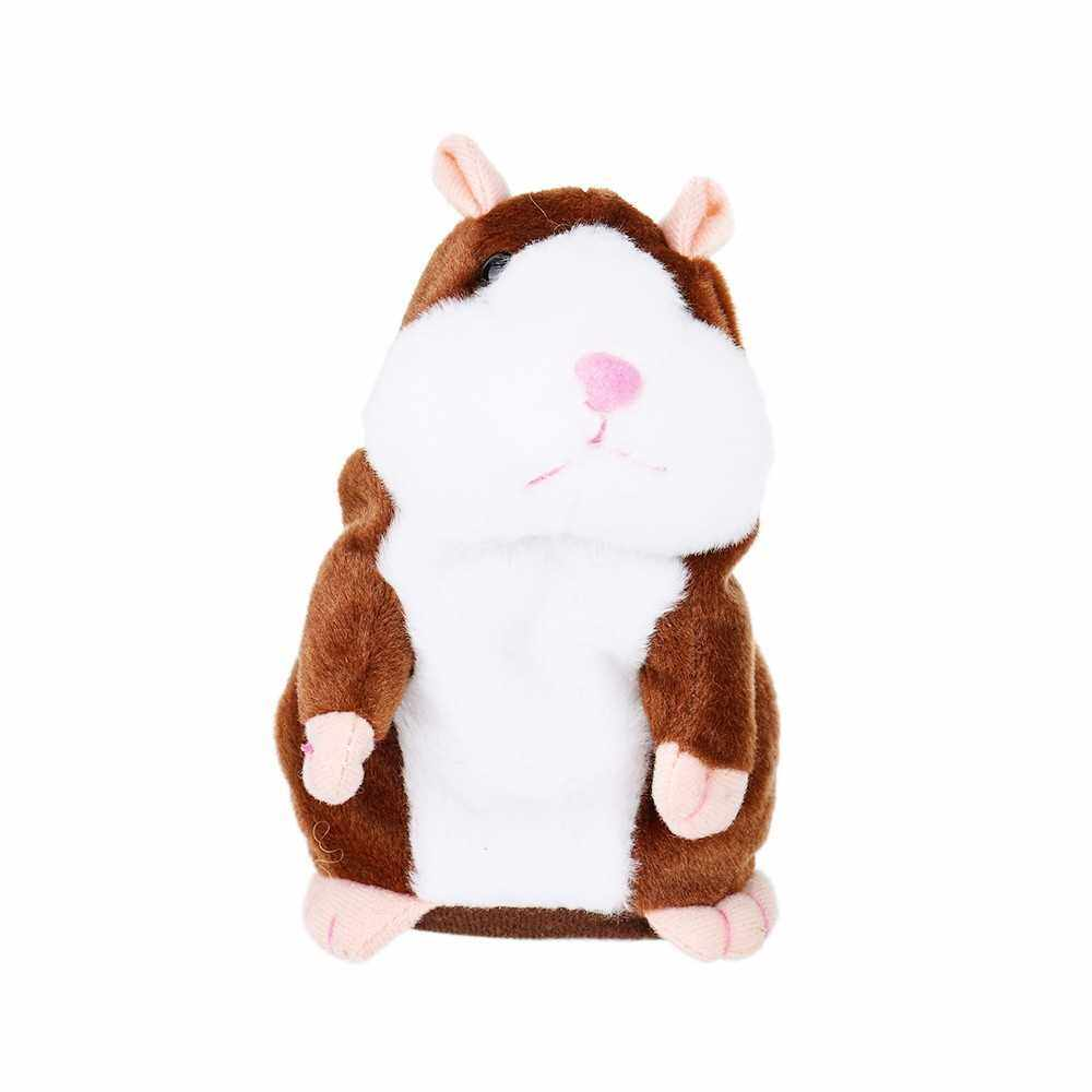 Electric Smart Little Talking Hamster Record Repeat Stuffed Plush Animal Kids Doll (Khaki)