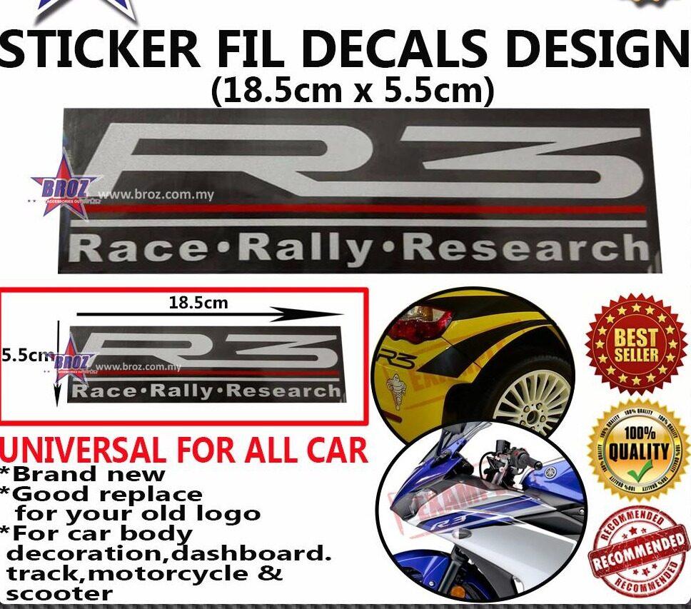 R3 White Decals Design Sticker