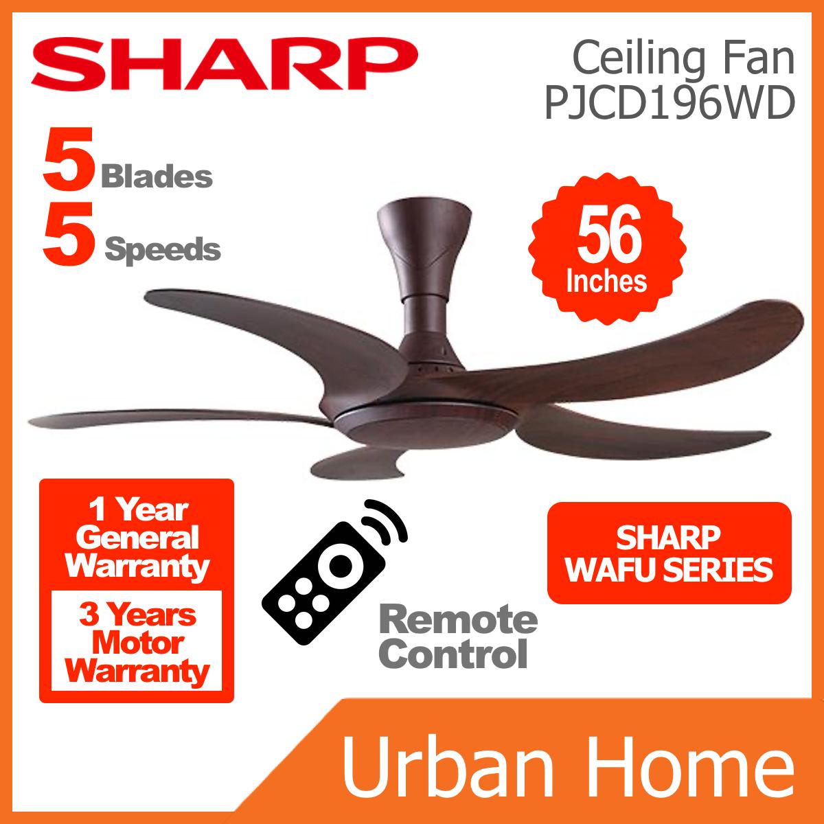 """SHARP 56"""" 5 Blade Wafu Kipas Ceiling Fan (PJCD196WD)"""