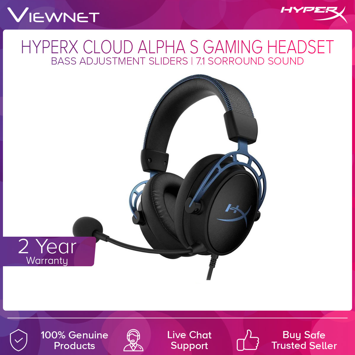 HyperX Cloud Alpha S Gaming Headset (HX-HSCAS-BL/WW) Blue, 7.1. Suround sound, Wired analog 3.5MM, Dual Chamber Drivers, Headphones