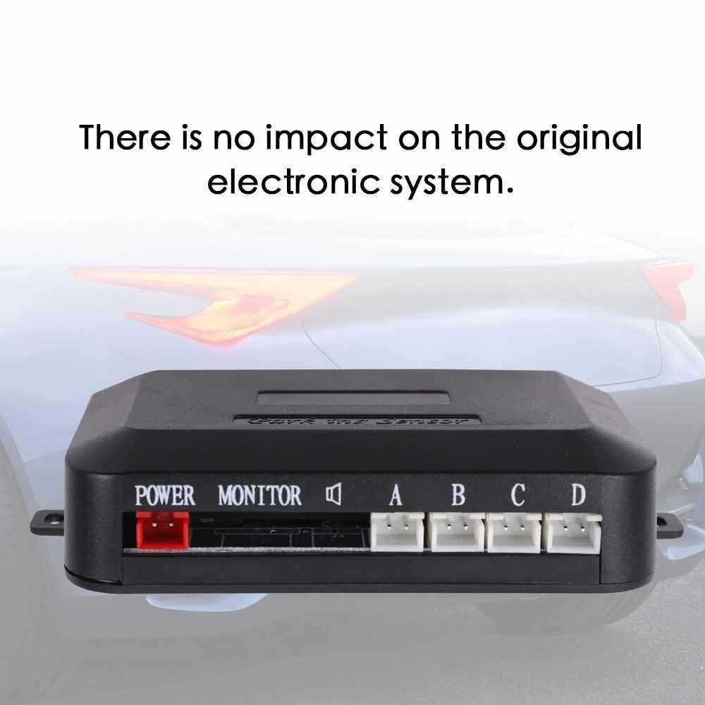 Intelligent Parking Assistance System 4 Sensor Buzzer Car LED Display Reverse Backup Alert Indicator Monitor Kits (White)