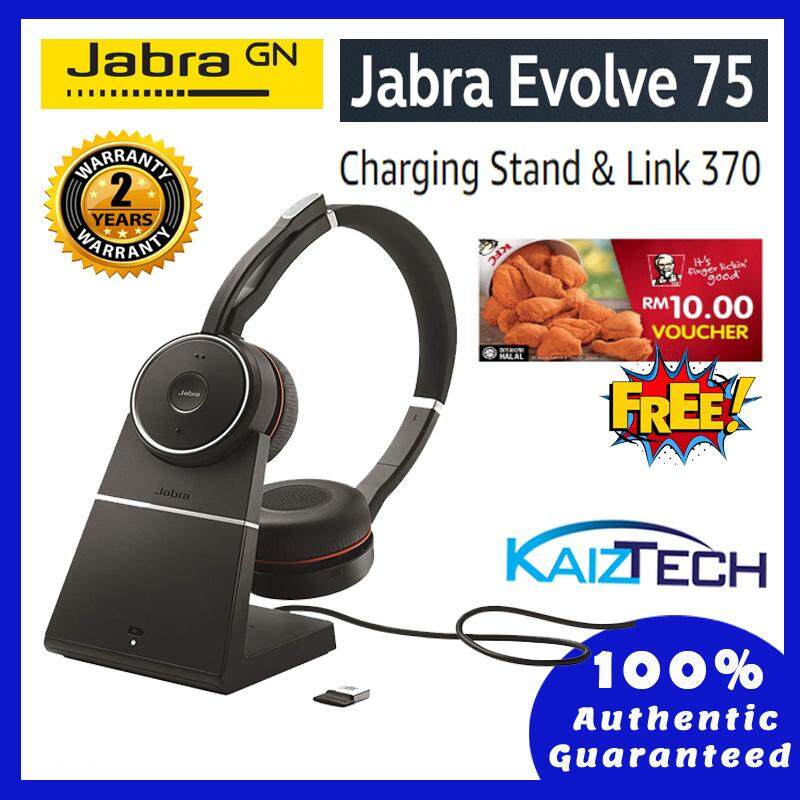 [Ready Stock] Jabra Evolve 75 Stereo MS Include Charging Stand & Link 370 Office Headset